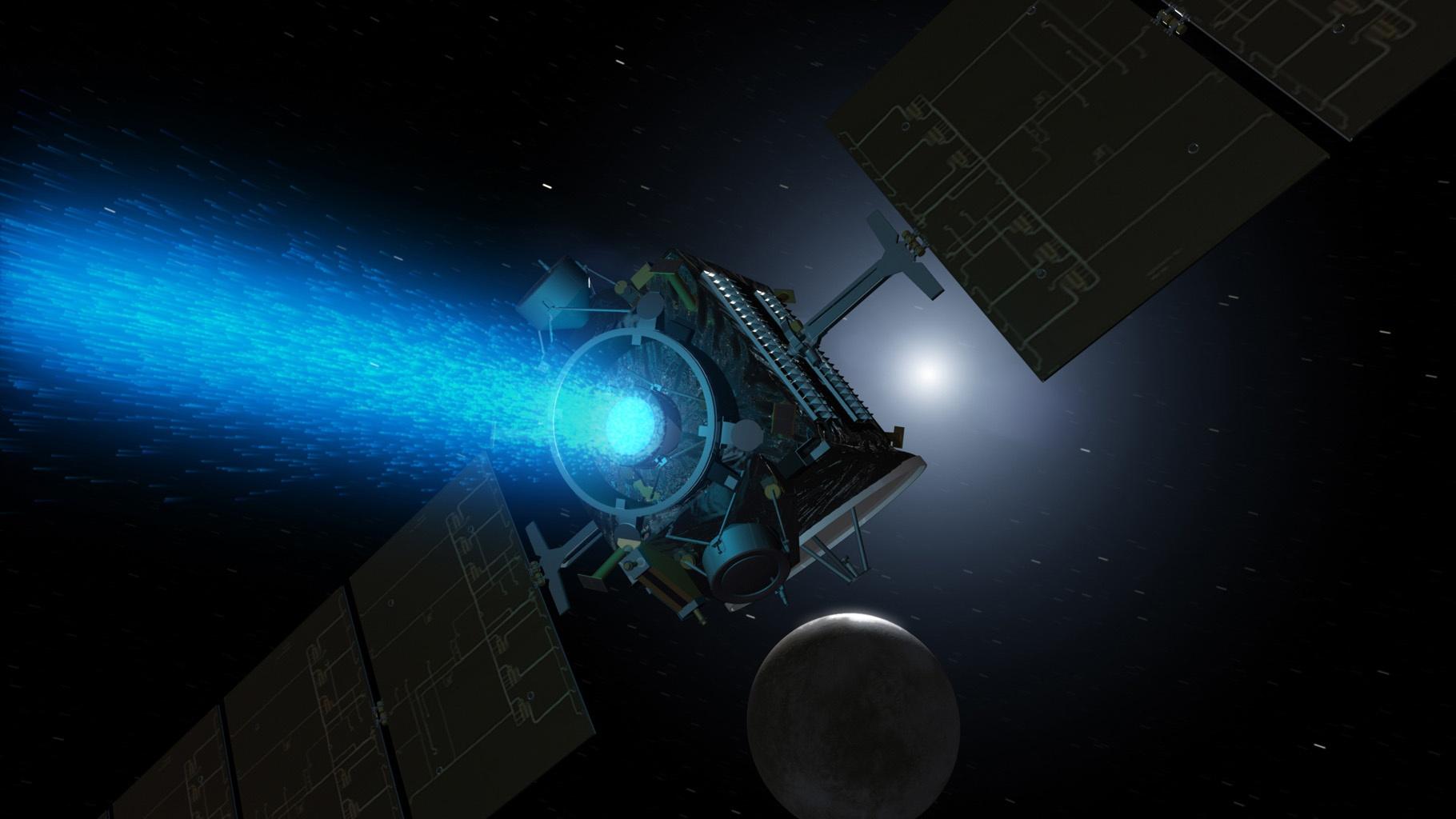 Dawn spacecraft, ion xenon ion propulsion.jpg