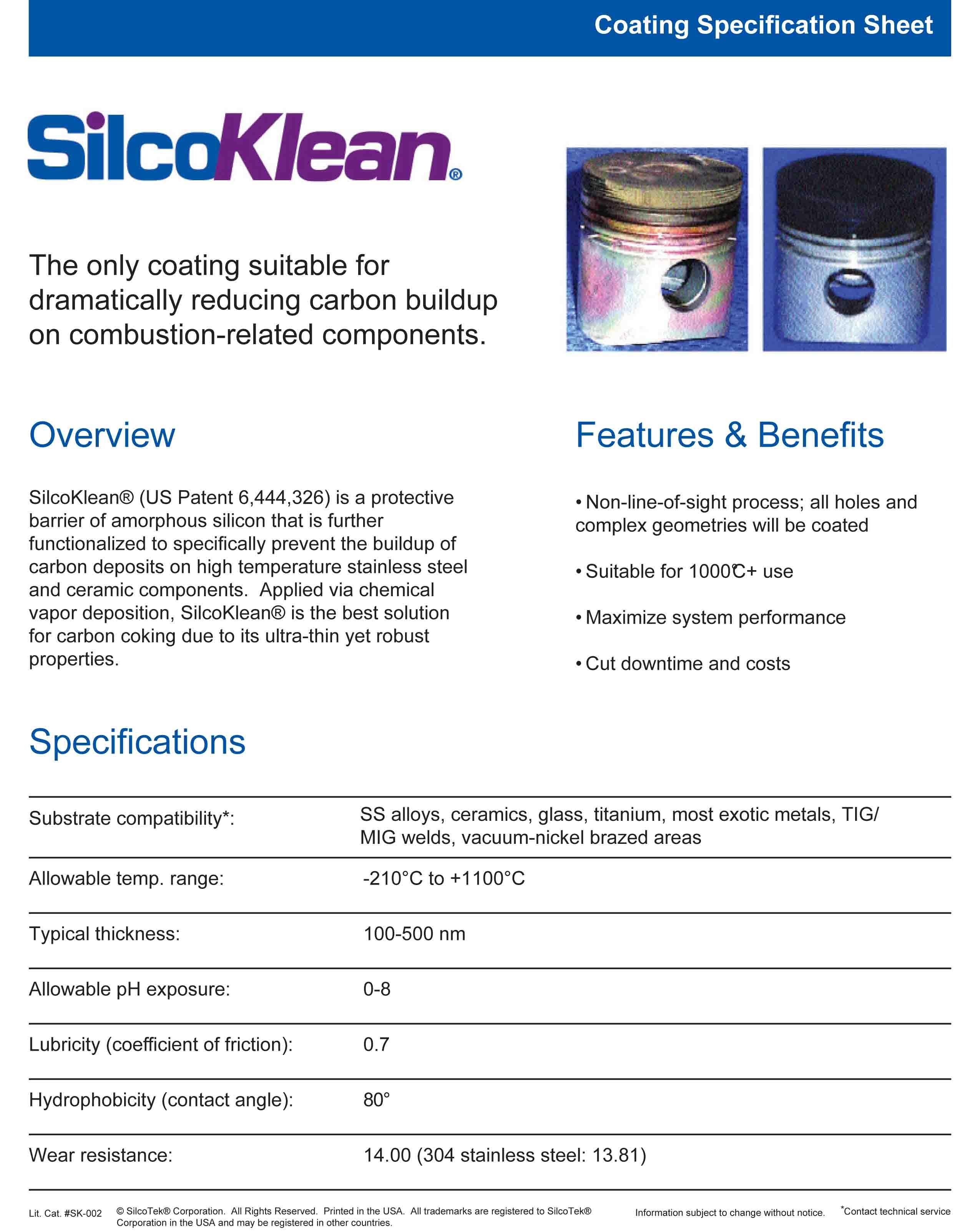 silcoklean-coating-specification